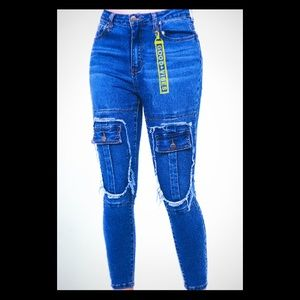 High Rise Knee Pocket Skinny Jean With Key Holder